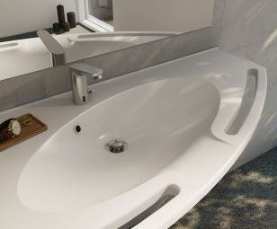 Seglformet håndvask i miljø, venstrevendt